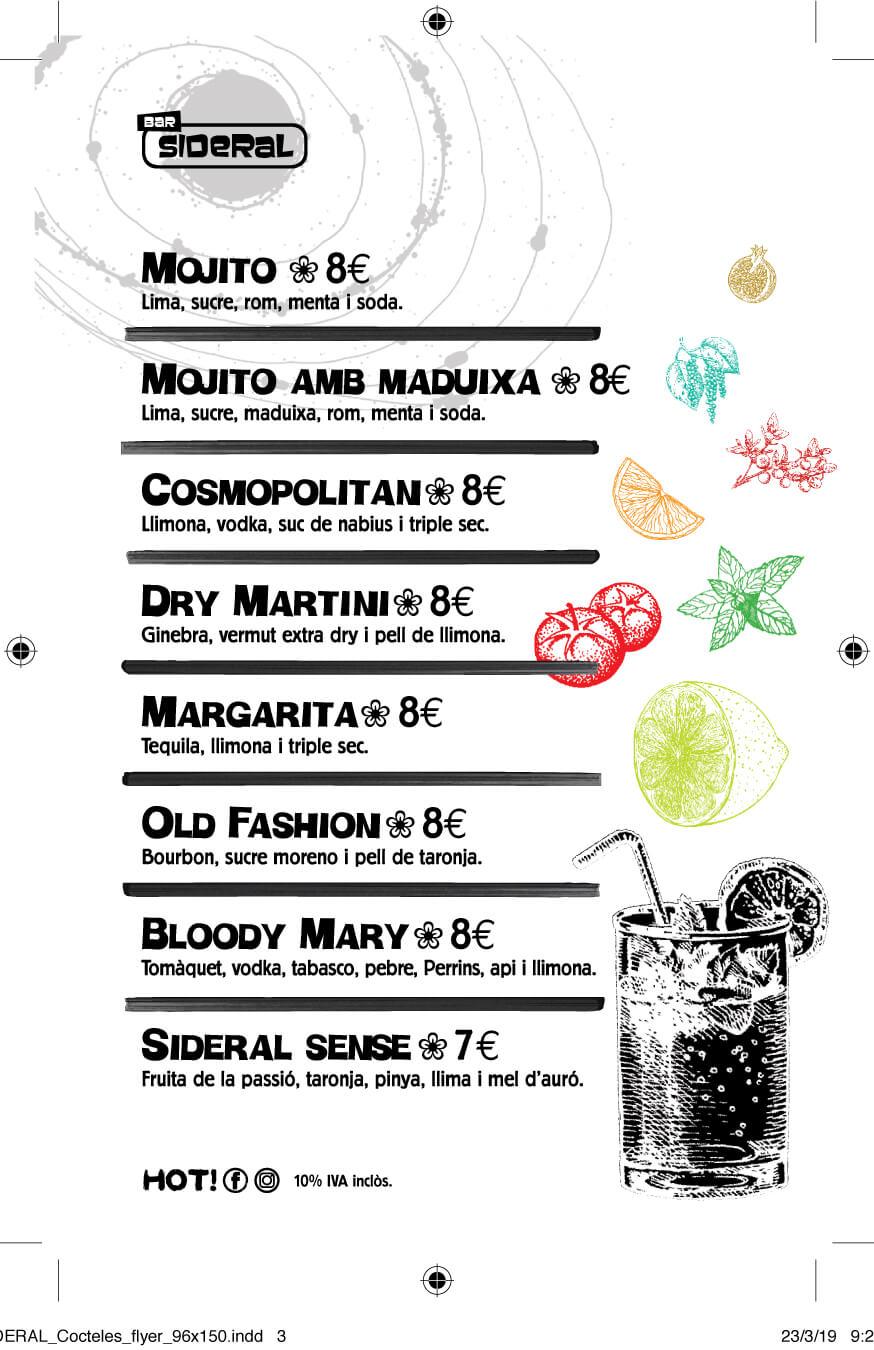 Bar Sideral (carta Cócteles)