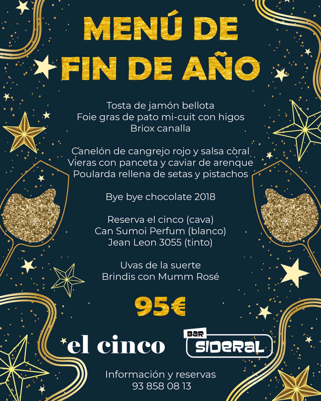 El Cinco Barcelona (menu 2018)