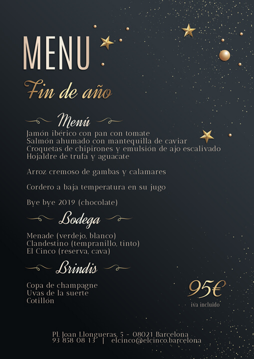 El Cinco Barcelona (menu 2019)